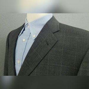 Burberry Windowpane Wool Sport Coat Blazer 42L